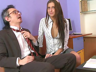 Young brunette seduces old teacher and gives him best ever blowjob in his life