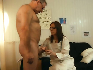 Oldman has sex with a young medical in the cabinet