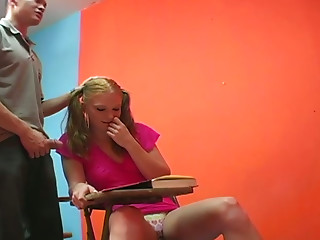 Incredibly perverted college slut kicks her friend in his balls