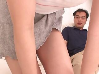 Nozomi Hazuki touches herself while giving a blowjob