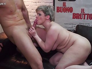 Hairy mother fucking and sucking her younger lover