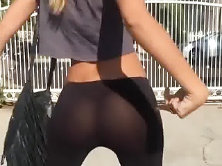 great ass in tight pants, leggins.