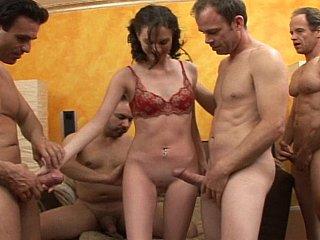Ravishing young slut Andrea serving 4 jocks