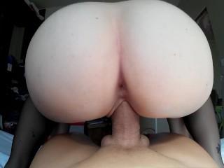 POV Russian Teen Riding Huge Cock until Creampie