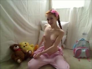 Hot Teen Redhead Dolly Little Masturbates in Footie Pajamas