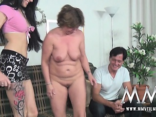 German mature couple getting instructions by babe