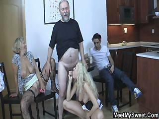 Blonde girl have fun fucking with her BF parents