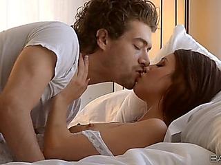 Kissing and erotically fucking babe