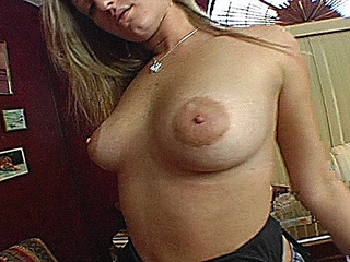 Nasty blonde slut with great tits sucks cock and gets fucked