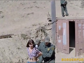 Tiny teen deepthroats and gets her pussy slammed by BP agent
