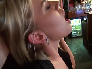 Beautiful barmaid gets fucked at her work place