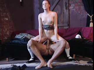 Milky white college redhead fucked in her sexy snatch
