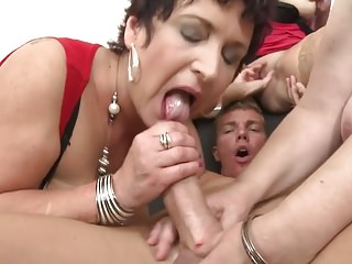 Taboo group sex with mature moms and granny