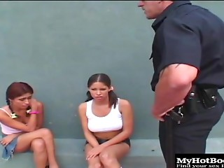 Two naughty sluts get banged really hard by a hung police officer