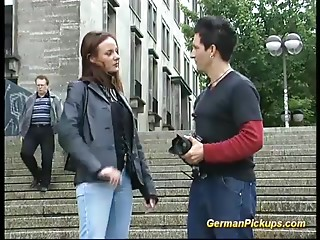 Cute german teenie picked up in public for her 1st porn movie tape