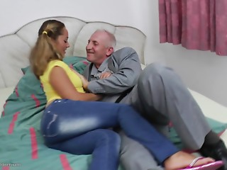 Her pigtails are cute and her fur pie is moist during granddad sex