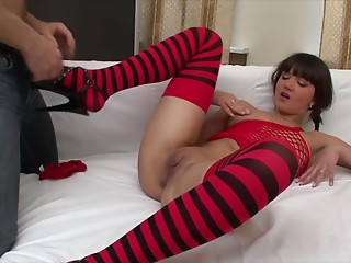 Slick juices leak from her young slut cum-hole as this guy copulates her from behind
