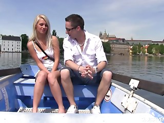 Hawt date on a boat leads to outstanding sex for giddy blond