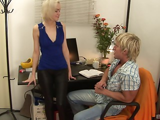 Constricted leather panties playgirl engulfing rod in his home office