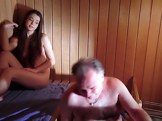 Astonishing Pretty Young slut is Fucking an Older man in The Sauna