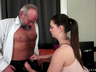 An experienced cock is all that her hairless love tunnel needs right now