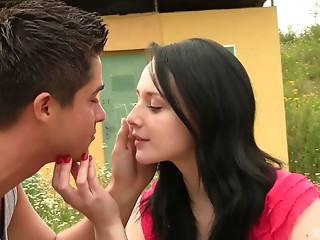 Hawt girlfriend's muff  receive licked and pounded hard doggy in a close up discharge