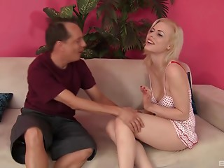 Older, balding man receives to group sex a hot younger blond