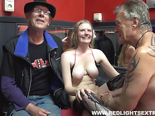 Older man fingers a prostitute then wedges his wang in her