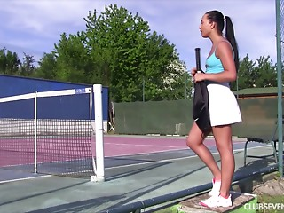 During the time that awaiting for her tennis tutor this babe acquires in nature's garb and acquires off