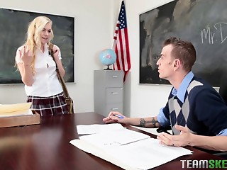 Hot golden-haired college hooker acquires a facial after fucking a fellow
