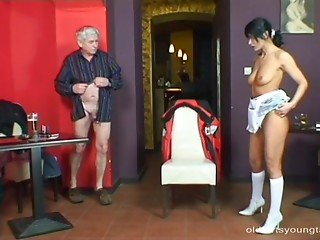 Hawt Latin chick with large marvelous scoops playing with an older man's weenie