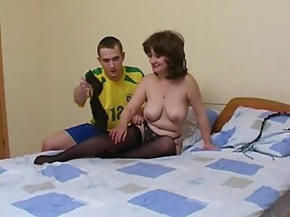 Nasty Russian mommy in hose fucking the younger neighbour man