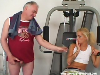 Cute blond with merry scones getting her juicy wet crack licked by an granddad