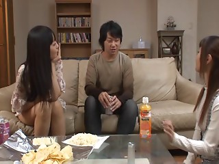 A married Japanese coupe has a three-some with a concupiscent legal age teenager hooker