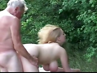 Giant titted sturdy bitch fucking concupiscent older man