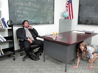 She sneaks into her teacher's office and fucks him on his desk