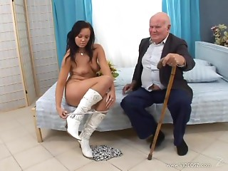 Eliss Fire allows an elder chap bang her hairless fur pie doggy style