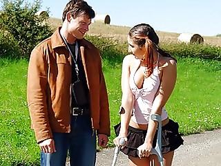 Young slut with a broken leg receives her gazoo explored