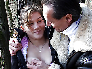 Lewd youthful aged pair shagging in a forest