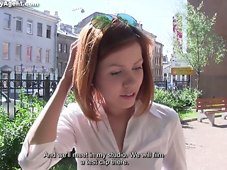 Cute Russian chick Brenda is fucked by tricky agent