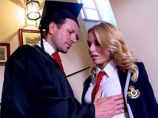 Lustful Student Copulates Her Sexy professor on Stairways