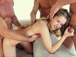 Rachel's 1st real group-sex