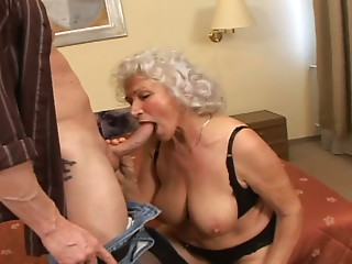 Lascivious old bitch boned hard in a doggystyle by lascivious juvenile man