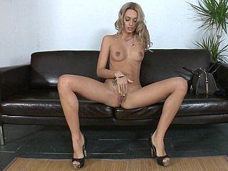 Tall slim Erica Fontes masturbating and engulfing