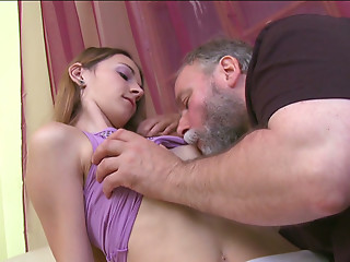 Nina gets her pinkish snatch polished by her boyfriend's old daddy