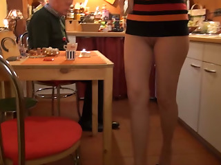 Old freaky stud plays with sexy long legged blondie at kitchen